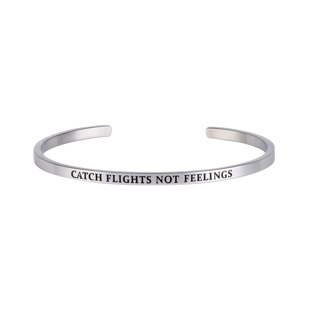 WEIDING Cuff Bangle Catch Flights Not Feelings - Funny Bracelet Gift for Traveler or Adventurer -Silver
