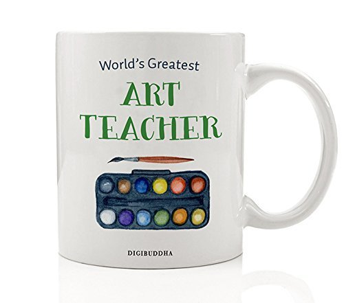 Art Teacher Gifts World's Greatest Art Teacher Coffee Mug Gift Idea Creative Arts Elementary Middle School Tutor Instructor Christmas Birthday Present from Student 11oz Ceramic Cup Digibuddha DM0304