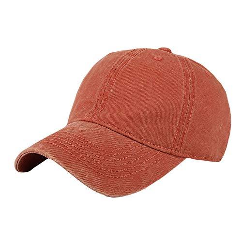 ⚡HebeTop ⚡Men Women Washed Twill Cotton Baseball Cap Vintage Adjustable Dad Hat Orange