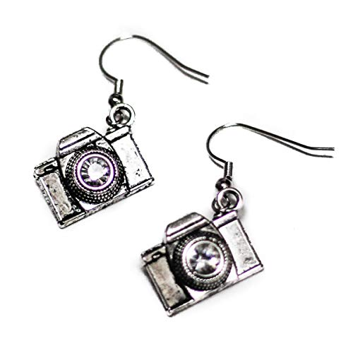 SLR Camera with Crystal Lens Silver Toned Dangle Earrings