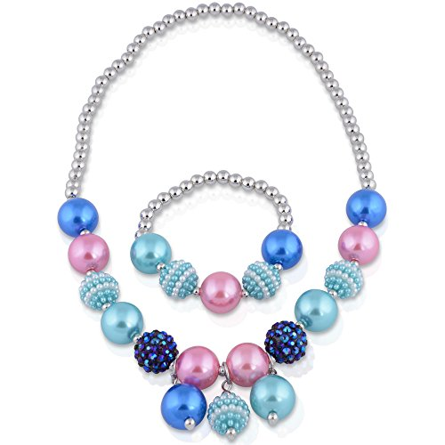 [SmitCo LLC Jewelry For Little Girls, Blue Stretch Play Necklace and Bracelet Set For Kids/Toddlers] (Toddler Costumes Jewelry)