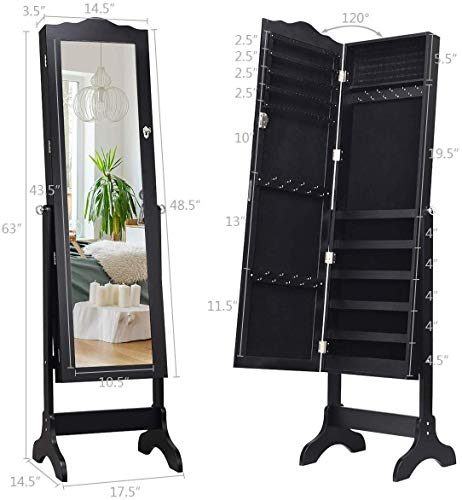 Giantex Jewelry Box Armoire with Mirror, Standing Jewelry Cabinet, 29 Necklace Holder Hooks Ring Earring Makeup Display… 6