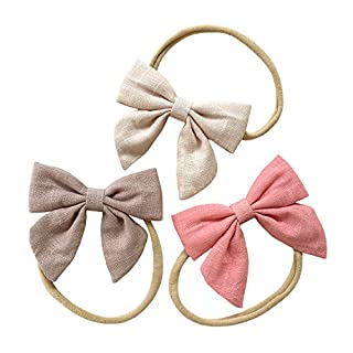 Baby Girl Super Soft Headbands and Linen Bows, Stretchy Nylon Hair bands For Newborn Infant Toddler by Cherssy