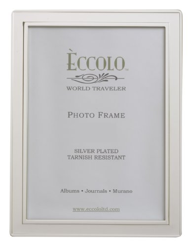 Eccolo World Traveler Raised Edge Silver Plated Frame, Holds a 4 x 6-Inch Photo (Silver Raised Plated)