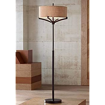 Marlowe Modern Floor Lamp Industrial Bronze Woven Iron And
