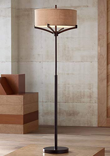 Living Room Chelsea - Tremont Mid Century Modern Floor Lamp Deep Bronze Tan Burlap Drum Shade for Living Room Reading Bedroom Office - Franklin Iron Works