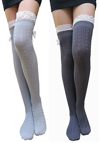 Price comparison product image AM Landen Over the Knee High Socks/Lace Bow Socks/Thigh High Socks(LG+GY)