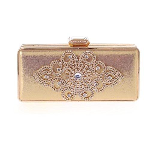 La Moda El Paquete De La Cena El Bolso Coreano El Embrague El Paquete De Diamantes Las Mujeres Bolsas De Artesanía Gold