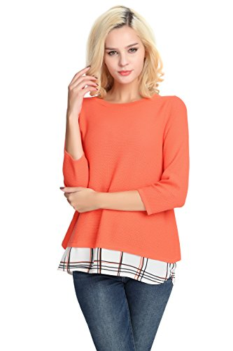 3/4 Sleeve Pullover (YTUIEKY Women's Sweater, Pullover Autumn Women Top 3/4 Sleeve 2Fer Loose Casual Pullover Layered Sweater)