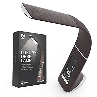 QIAYA 5W LED Gooseneck Desk Lamp with LCD Display Time, Date, Temperature and Alarm, Brown