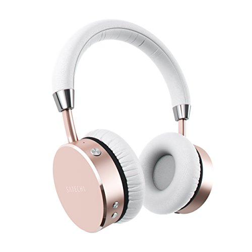 Satechi Aluminum Bluetooth Wireless Headphones with Enhanced Bass 3.5mm Audio-Out Jack - Compatible with iPhone Xs Max/XS/XR/X, 8 Plus/8, 2018 iPad Pro, Microsoft Surface Go and More (Rose Gold)