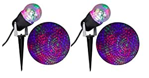 Halloween LED Phantasm Fire Ice Projection Multicolor Red, Green, Purple Fire Ice Swirling Stake Light- Set of 2