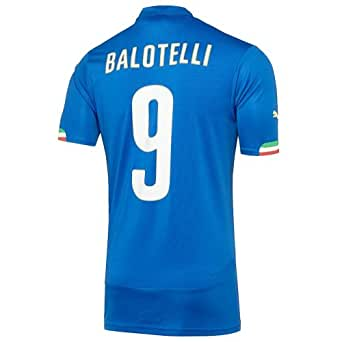 Puma BALOTELLI #9 Italy Home Jersey World Cup 2014 (Authentic name and number) YOUTH. (YM)