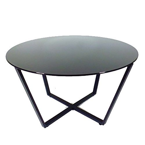 Mango Steam Metro Glass Coffee Table - Black Top / Black Base Black Round Coffee Table