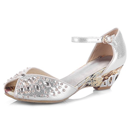 AllhqFashion Womens Buckle Kitten Heels Sheepskin Solid Peep Toe Sandals Silver yPPMxCL