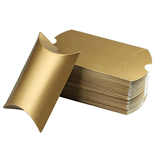 5'' X 3.5'' Red Cute Pillow Kraft Paper Gift Boxes Wedding Party Favor Favour Gift Candy Box 13cm x 9cm (50PCS Gold)