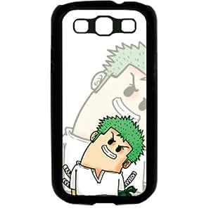 One Piece Popular Cute Cartoon Roronoa Zoro Samsung Galaxy S3 SIII I9300 TPU Soft Black or White case (Black)