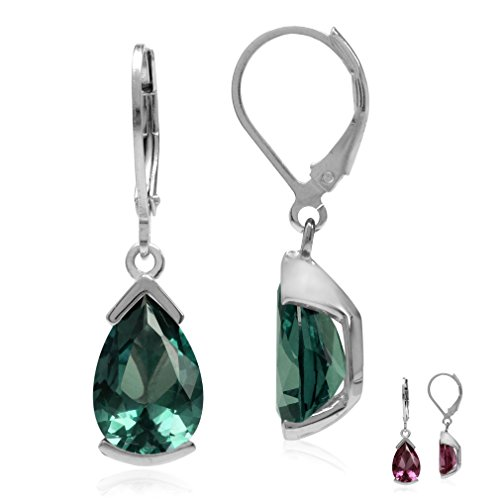 (12x8MM Pear Simulated Color Change Alexandrite 925 Sterling Silver Drop Dangle Leverback Earrings)
