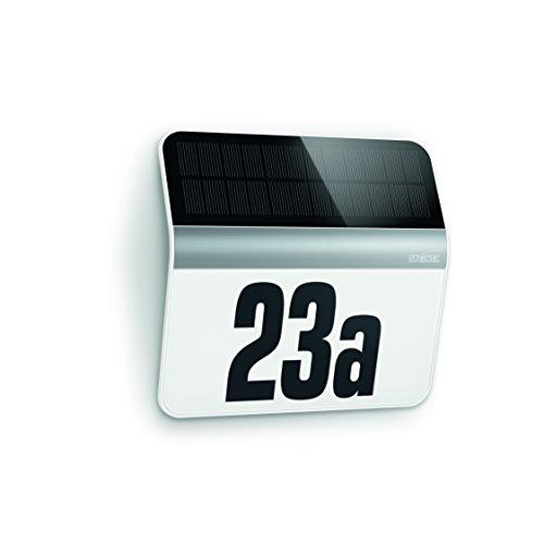 Steinel LED Hausnummern-Leuchte XSolar LH-N edelstahl, Beleuchtete Hausnummer inkl. 1200 mAh Lithium-Ferrum-Akku, Solar Außenwandleuchte mit Dämmerungsschalter und monokristallinem Solar-Panel, 007140