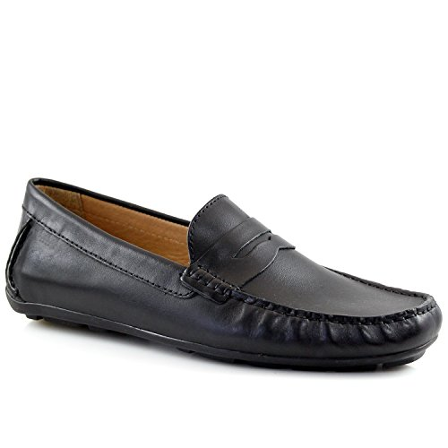 Driver Club USA Mens Genuine Leather Made in Brazil Hollywood Black Napa Penny Loafer 9