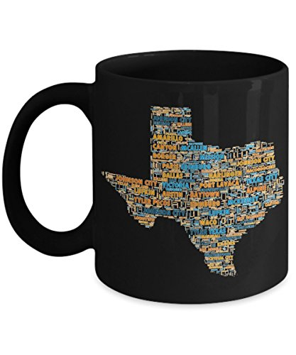 Texas Cities In The Shape Of The State Black 11 oz Coffee Mug