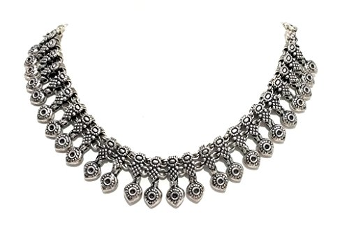 Fish Eye Pattern Metal Beads Oxidized Silver Antique Texture 14 Inch Long Neck Piece ()