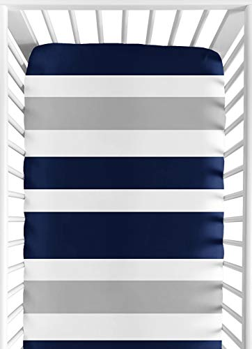 Sweet Jojo Designs Fitted Crib Sheet for Navy and Gray Stripe Baby/Toddler Bedding - Stripe Print