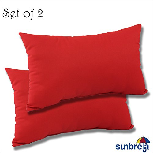 SET OF 2- 22x12x4 Sunbrella Indoor/Outdoor Fabrics LUMBAR PILLOWS in Flagship Ruby by Comfort Classics Inc. (Sunbrella Red)