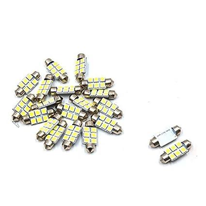 eDealMax 20pcs 36mm 6 LED 5050 SMD de bóveda del Adorno coche de la luz Blanca