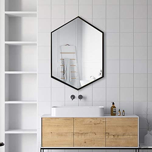 Amazon Com Tmgy Black Hexagon Mirror Wall Mounted 27 5 X19 6 Large Black Mirrors For Wall Decor Ornate Mirror Modern Vanity Mirror For Living Room Bathroom Bedroom Big Metal Frame Wall Mirror Antique Mirror Home Kitchen