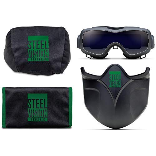 Steel Vision 32000 Auto Darkening Welding Helmet Mask Kit - Welding Goggles, Mask, Hood & Bump Cap by Steel Vision (Image #1)