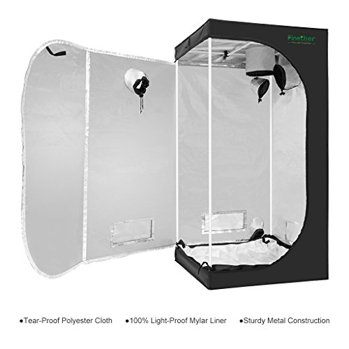 $59.99 indoor grow tent cheap Finether 24″x24″x56″ Grow Tent Mylar Hydroponic Plant Growing Tent with Observation Window and Removable Floor Tray for Indoor Plant Growing 2019