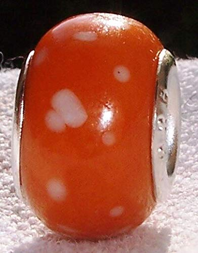 Orange White Dots Speckled Murano Glass Bead for Silver European Charm Bracelets Fashion Jewelry for Women Man