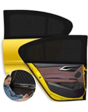 Car Window Sun Shade 2 Packs,【2021 Upgrade Version】 Breathable Elastic Mesh Car Rear Side Window Shade-Universal Fit for Most of Cars-Protect Kids Pet from The Sun-Cover Full Windows