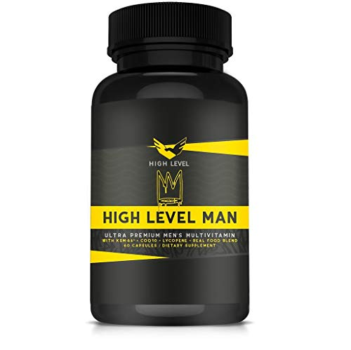 High Level Man Ultra Premium Multivitamin | Real Whole Food Blend | KSM-66®, CoQ10, Lycopene | Maximum Bioavailability | Total Health, Stress Response, Mental Clarity, Concentration, Energy + Vigor