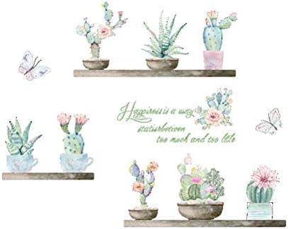 VORCOOL Flor de Cactus Mariposa Pegatinas de Pared para Sala de ...