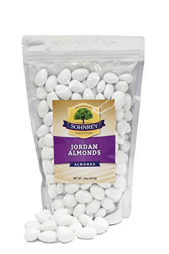 - White Jordan Almonds Wedding Shower Party Favor Premium Fine Candied Nuts (1.5 lbs) Sohnrey Family Foods