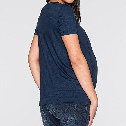 Comoda T Zonvenl Maniche 1 Tops Corte Maglietta 2 Donna Premaman Unita Allattamento Tinta shirt Elegante Scollo Loose Rotondo Pieghe In Blue Camicie Popolare xz5x4waq