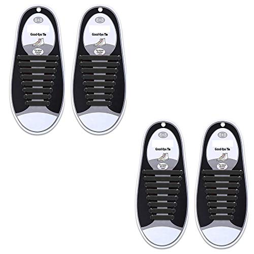 No Tie Shoelaces for Kids and Adults,Elastic Shoelaces for Sneakers,Lazy Tieless Silicone Rubber Sneakers Shoelaces,Waterproof/Durable,Easy to Install/Off(2 Pairs) (Black+Black) (Best Way To Lace Sneakers)