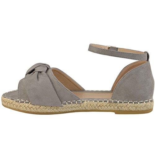 Moda Sed Mujer Plana Peep Toe Bow Alpargatas Sandalias De Correa De Tobillo Tamaño Grey Faux Suede