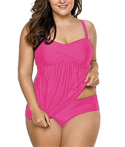 DRAGON VINES Women's Solid Ruched Tankini Top Swimsuit with Triangle Briefs Plus Size XL 2XL 3XL (XL, Pink)