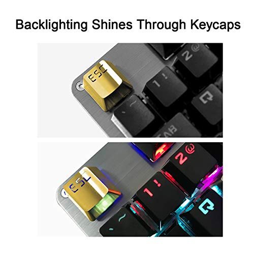 Fitlink Stainless Steel Metal Keycaps with Key Puller for Mechanical Keyboard Cherry Mx Switch(Esc,Gold)