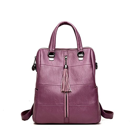 Attachment Tassel Leather - Women Multifunction Backpack Leather Tassel Shoulder Bag Large Capacity Backbag Female Zipper School Bag Purple 12 Inches
