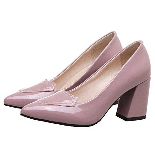 Pumps Lack Office Arbeitsschuhen Pink SJJH Ladies für spitzen mit Zehen Elegante Blockabsatz und TqgBHx