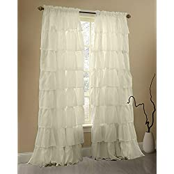 Gee Di Moda Cream Ruffle Curtains Gypsy Lace Curtains for Bedroom Curtains for Living Room - Cream 60x96 inch Ruffled Curtains for Kids Room Shabby Chic Curtain for Nursery Kids Curtains for Girls