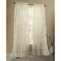 Gee Di Moda Cream Ruffle Curtains Gypsy Lace Curtains for...