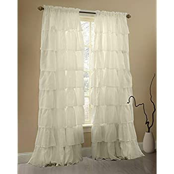 this item gee di moda cream ruffle curtains gypsy lace curtains for bedroom curtains for living room cream 60x84 inch ruffled curtains for kids room