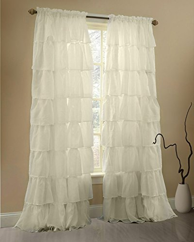 Gee Di Moda Cream Ruffle Curtains Gypsy Lace Curtains for Bedroom Curtains for Living Room - Cream 60x84 inch Ruffled Curtains for Kids Room Shabby Chic Curtain for Nursery Kids Curtains for Girls Cream Ruffle