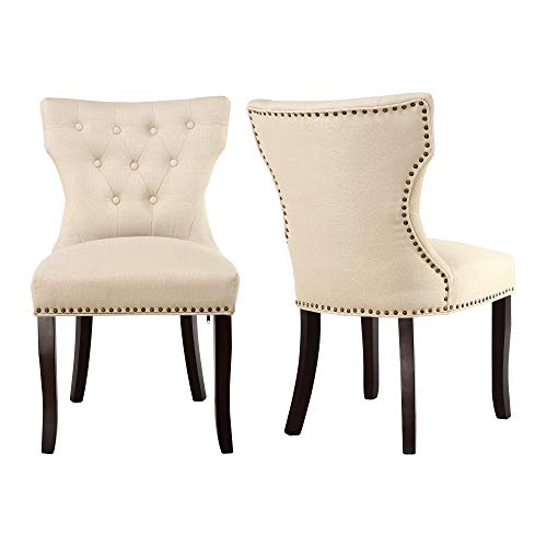 LSSBOUGHT Set of 2 Fabric Dining Chairs Leisure Padded Chairs with Brown Solid Wooden Legs,Nailed Trim,Beige (Arm Chairs Sale Dining Room)