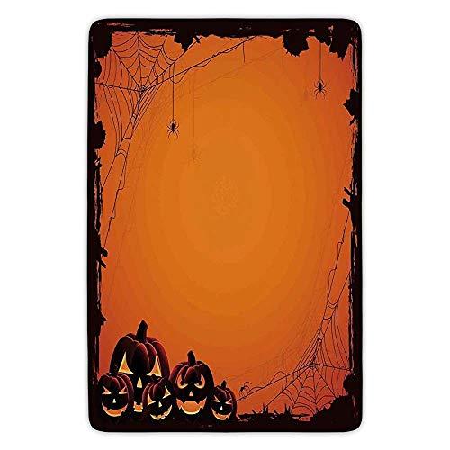 (Halloween Decorations Grunge Spider Web Pumpkins Horror Time of Year Trick or Treat Orange Seal Brown Flannel Microfiber Soft Absorbent Bathroom Bath Rug Home)